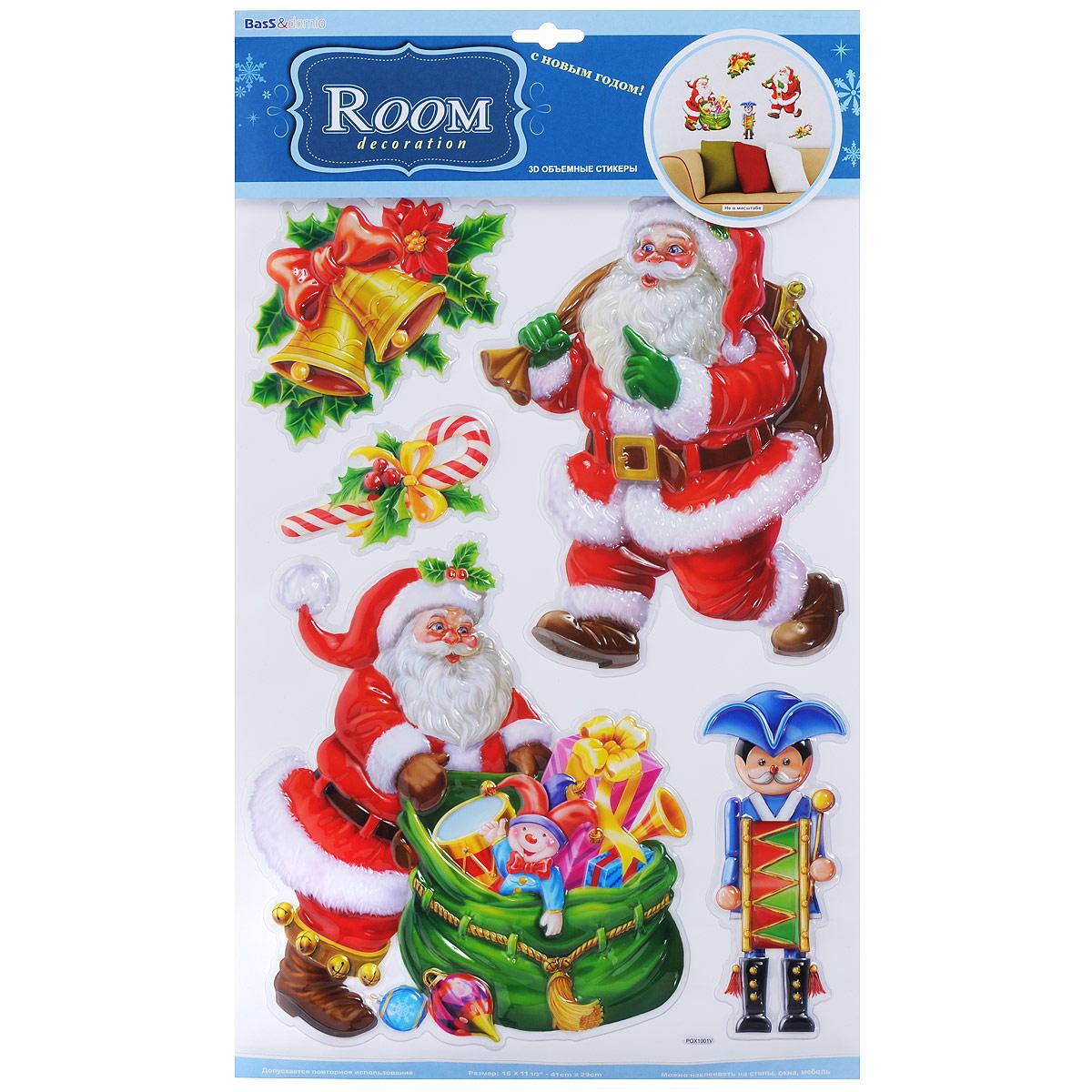 Наклейки для интерьера Room Decoration Веселый Дед Мороз, объемные, 41 х 29 см юлия винклер дед мороз и птичка наклейки
