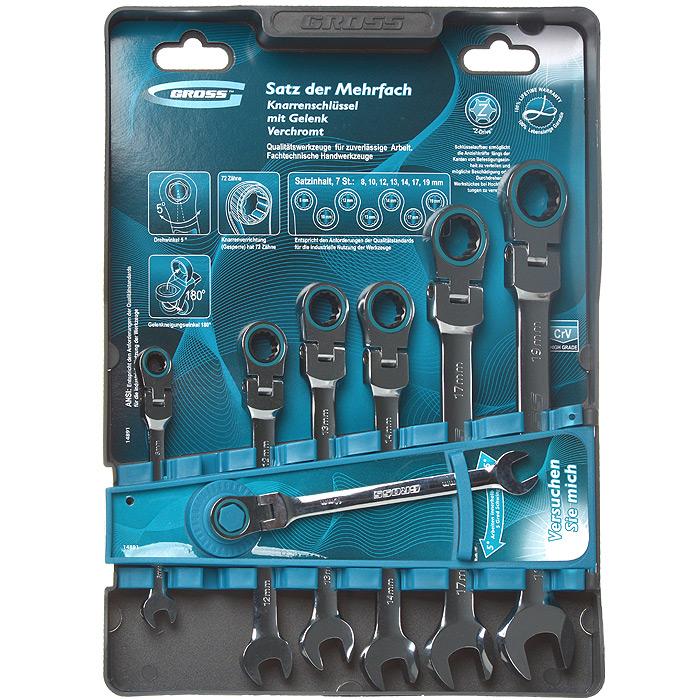 Набор комбинированных ключей Gross, шарнирные, с трещоткой, 7 шт набор гаечных комбинированных ключей с трещоткой 7 шт gross 14891 комбинированные ключи