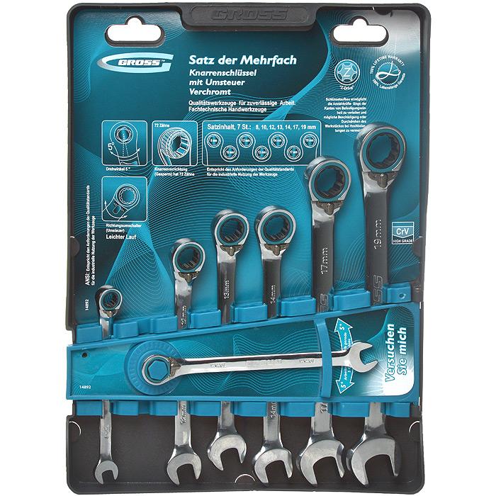 Набор комбинированных ключей Gross, реверсивные, с трещоткой, 7 шт набор гаечных комбинированных ключей с трещоткой 7 шт gross 14891 комбинированные ключи