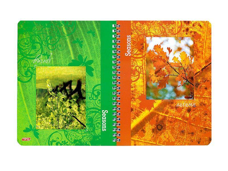 Тетрадь двойная с 4-мя обложками 96л А5ф на гребне-Времена года-