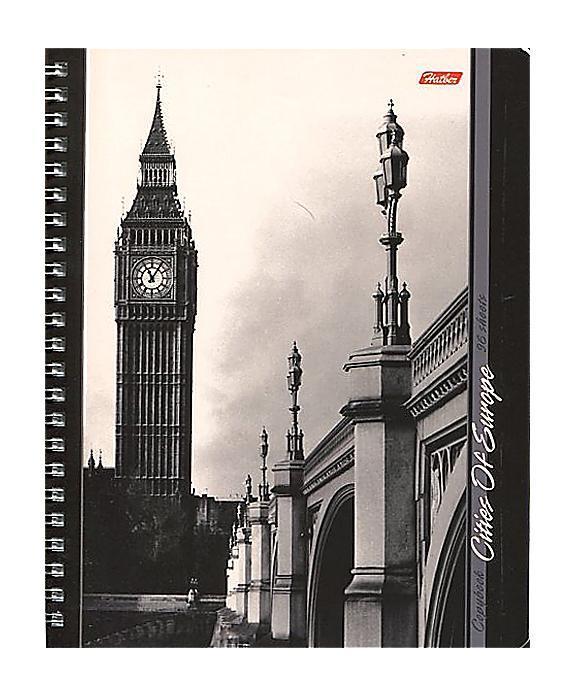 Тетрадь двойная с 4-мя обложками 96л А5ф на гребне-Города Европы-