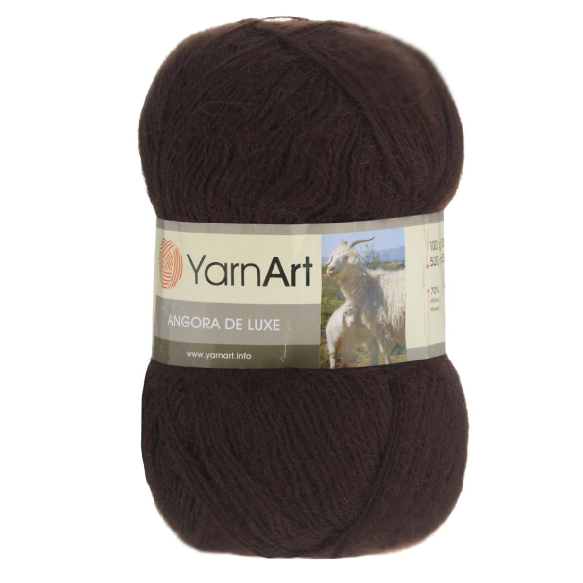 пряжа для вязания Yarnart Angora De Luxe цвет темно коричневый