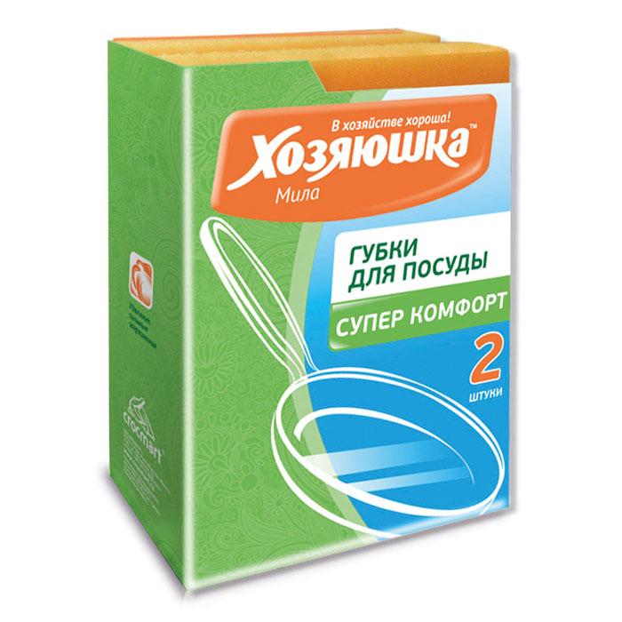 Набор губок Хозяюшка Мила Супер комфорт для мытья посуды, 2 шт пакет для запекания хозяюшка мила 30 х 40 см 5 шт