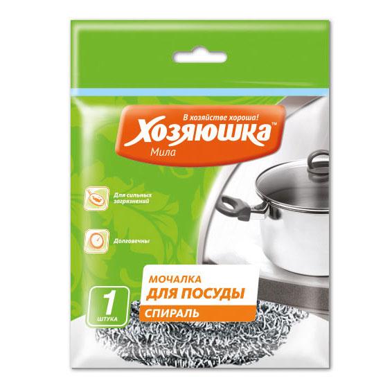 Фото - Губка спиральная Хозяюшка Мила для посуды мочалка для посуды хозяюшка мила стальная 2 шт