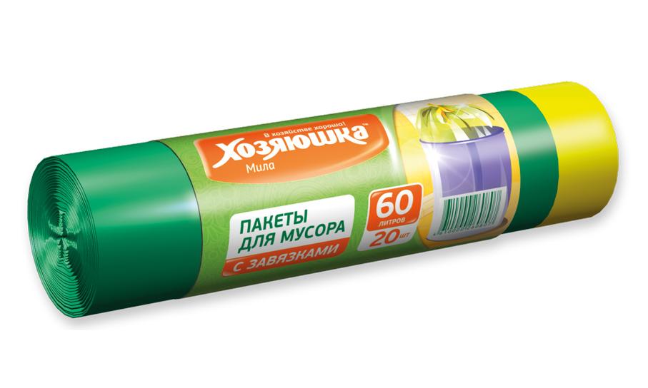 Пакеты для мусора Хозяюшка Мила, с завязками, 60 л, 20 шт пакет для запекания хозяюшка мила 30 х 40 см 5 шт