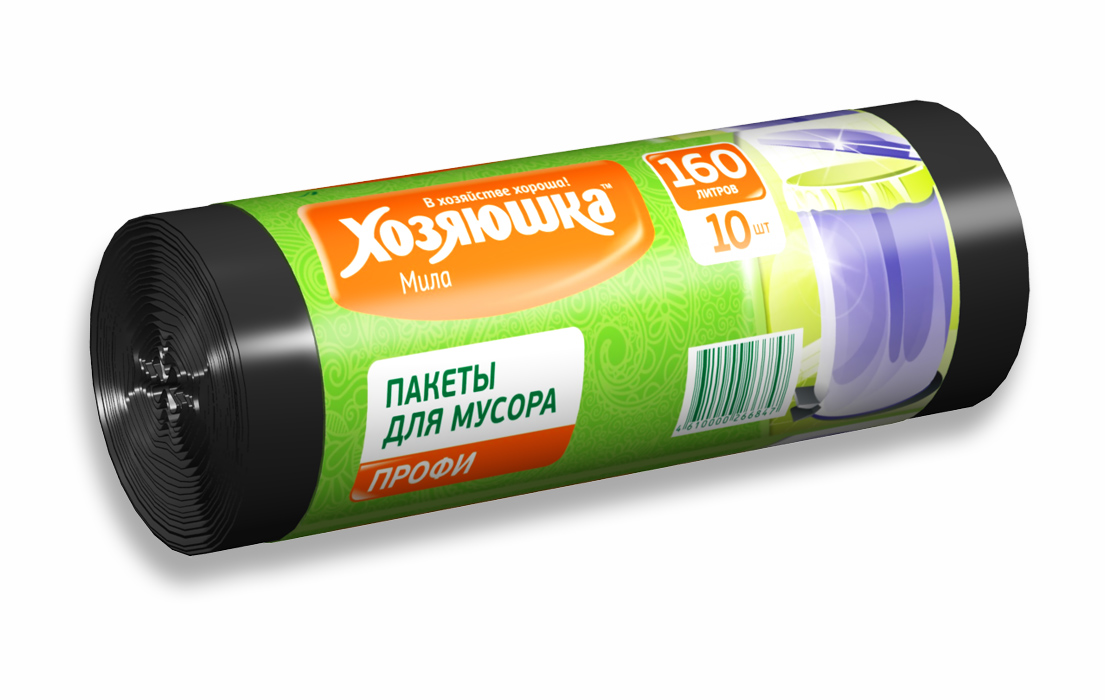 Пакеты для мусора Хозяюшка Мила Профи, цвет: черный, 160 л, 10 шт пакет для запекания хозяюшка мила 30 х 40 см 5 шт