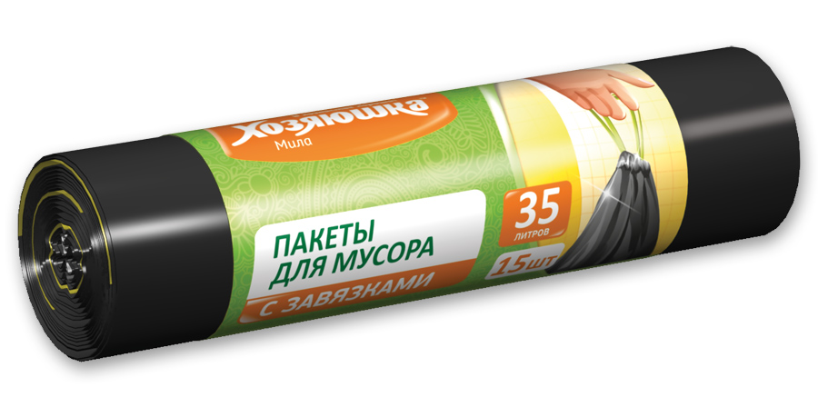 Пакеты для мусора Хозяюшка Мила, с завязками, 35 л, 15 шт цена
