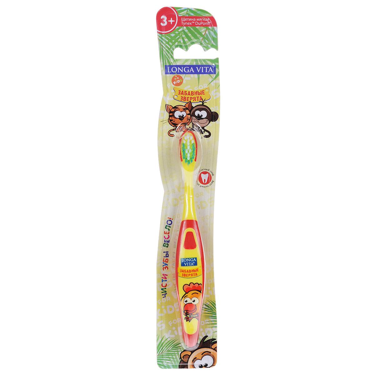 Детская зубная щетка Longa Vita Забавные зверята, в ассортименте детская зубная щетка longa vita забавные зверята в ассортименте