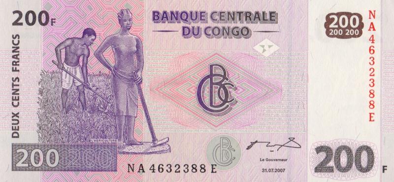 Банкнота номиналом 200 франков. Демократическая Республика Конго. 2007 год