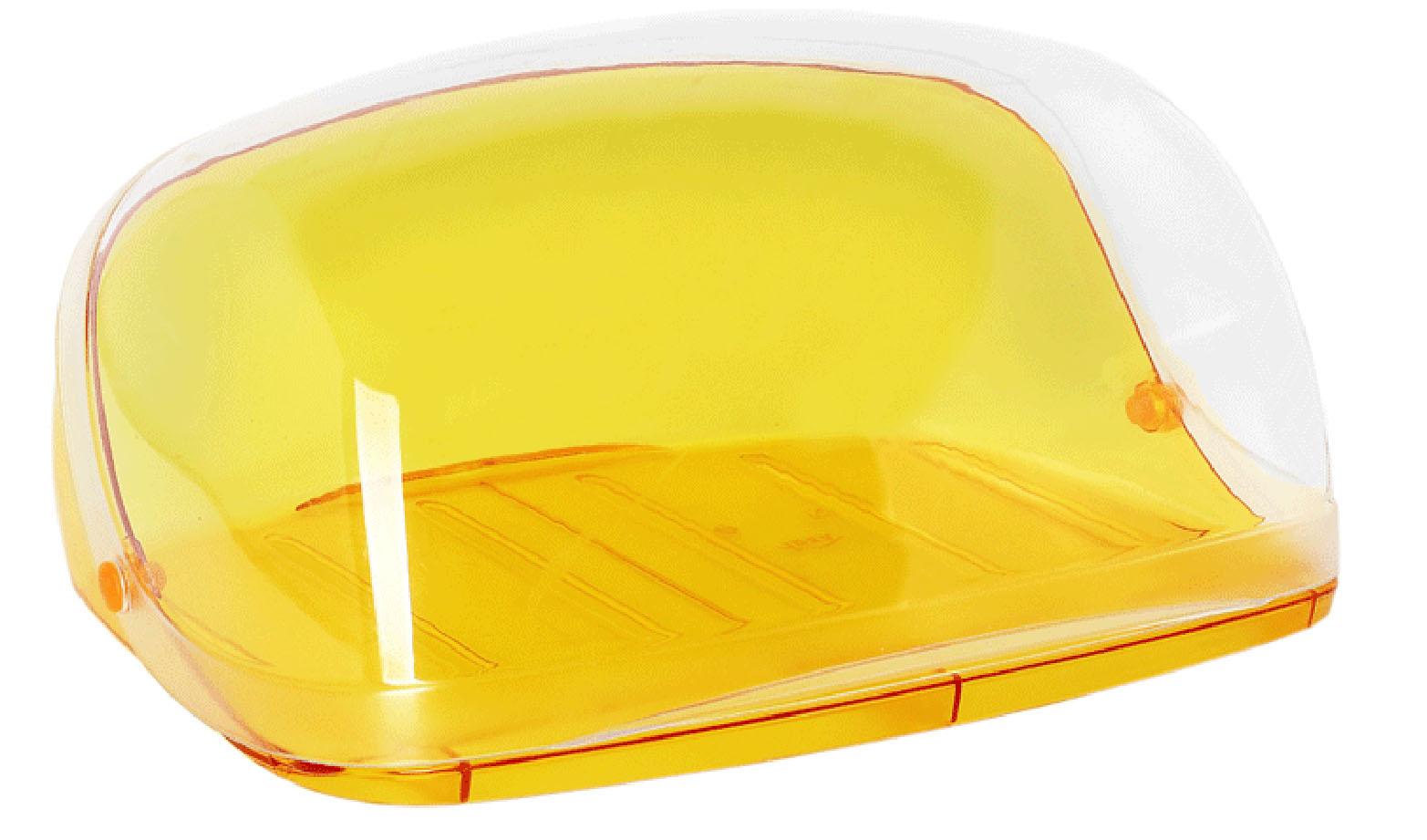 Хлебница Idea Кристалл, цвет: оранжевый, прозрачный, 29 х 25 х 15 см масленка idea кристалл цвет оранжевый прозрачный