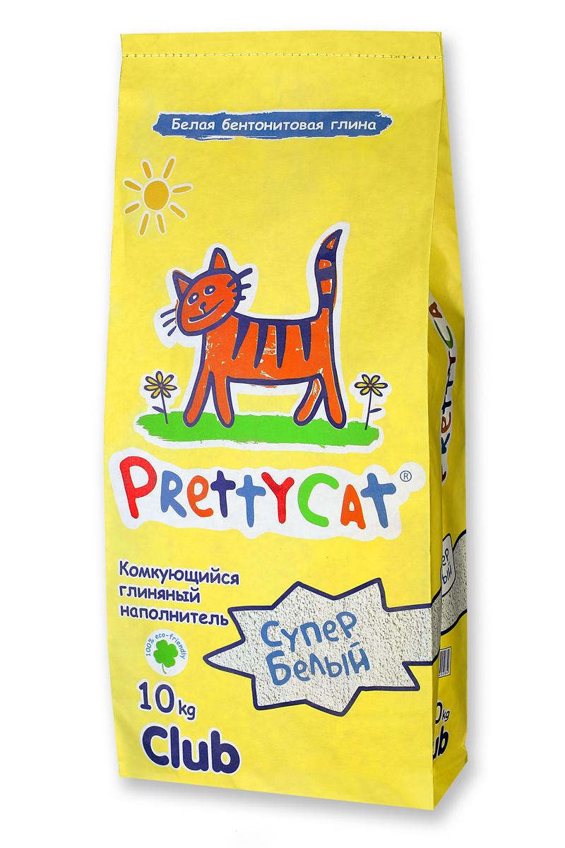 Наполнитель для кошачьих туалетов PrettyCat Супер белый, комкующийся, 10 кг. 620284 наполнитель prettycat супер белый комкующийся с ароматом ванили для кошек 10кг club