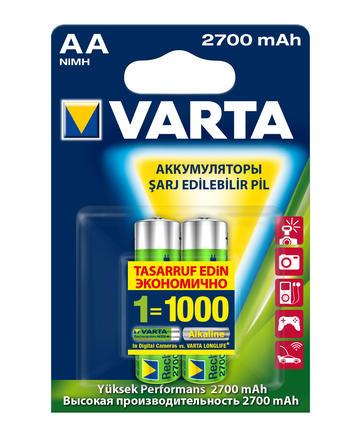 Аккумулятор Varta, тип АА, 2700 мАч, 2 шт цена