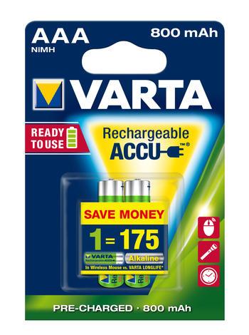 Аккумулятор Varta Ready2Use, тип ААА, 800 мАч, 2 шт аккумулятор varta blue dynamic d24