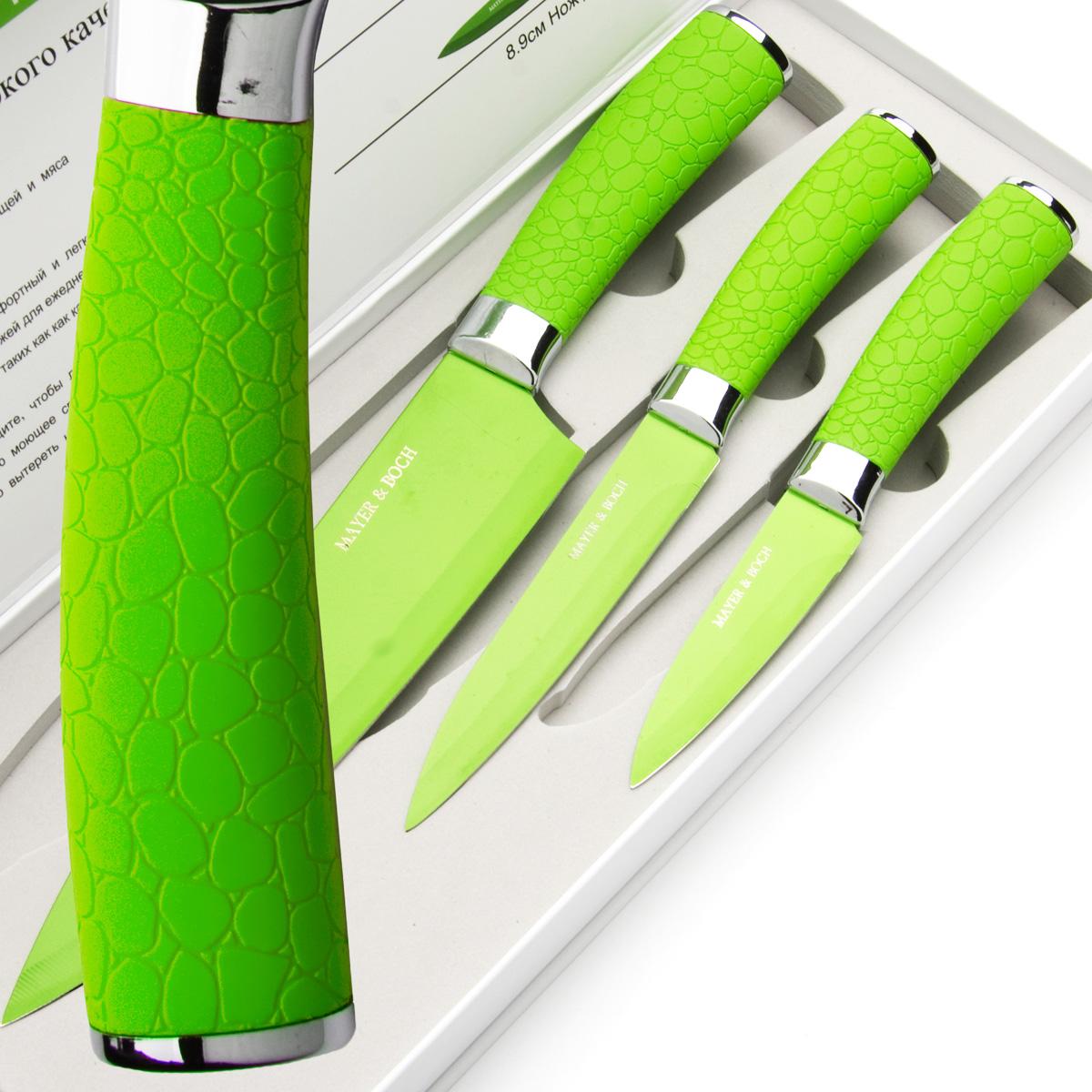 Набор ножей Mayer & Boch, цвет: зеленый, 3 шт. 24145 набор ножей mayer