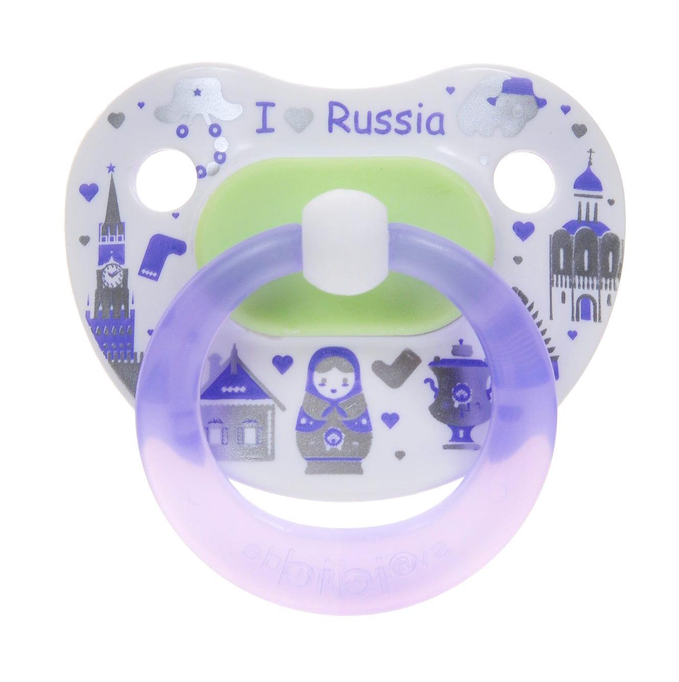 Bibi Пустышка ортодонтическая дневная Я люблю Россию от 0 до 6 месяцев цвет сиреневый