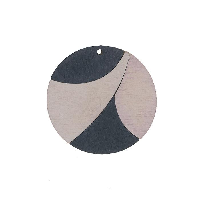 """Подвеска деревянная Астра """"Круг"""", цвет: черный, белый, диаметр 37 мм"""