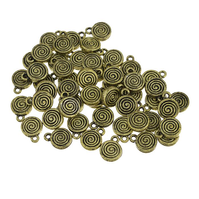 Подвеска декоративная Астра Спираль, цвет: золотистый, диаметр 10 мм, 50 шт набор декоративных подвесок астра море 2 6 шт