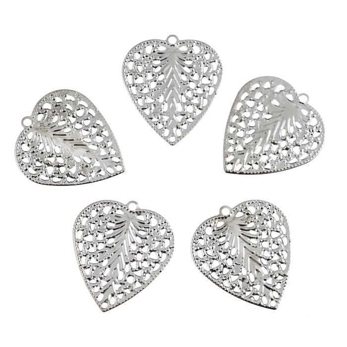Декоративный элемент Астра Сердце, цвет: серебристый, 24 мм х 27 мм, 5 шт декоративный элемент астра 30 х 27 мм 4 шт