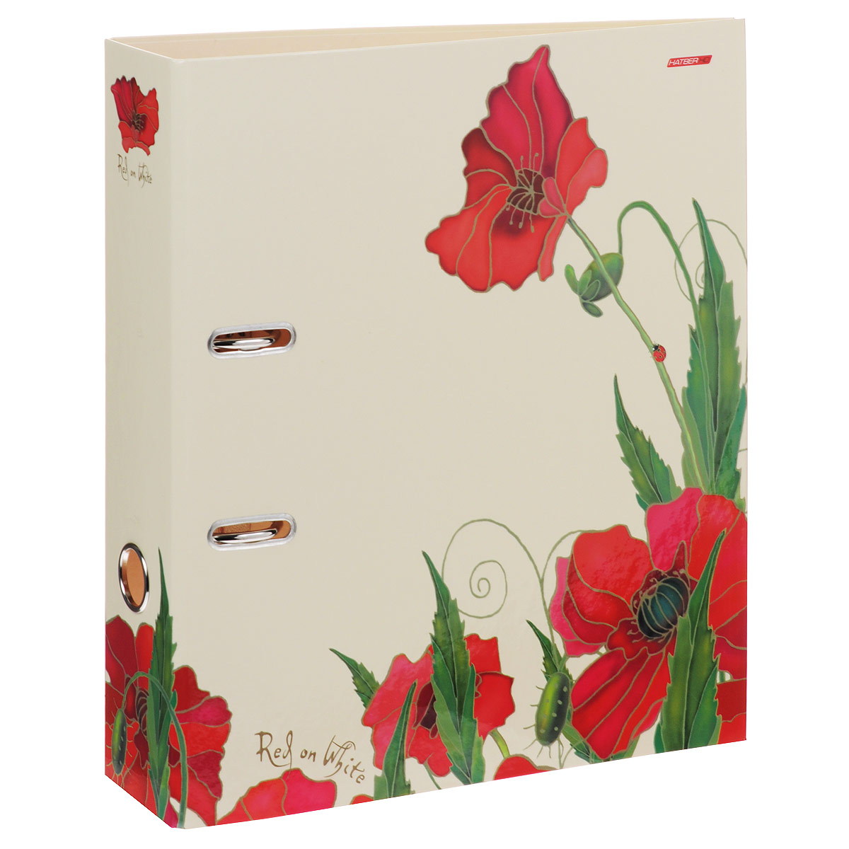 Папка-регистратор Hatber Red on White, цвет: бежевый, красный, ширина корешка 70 мм папка регистратор hatber red on black ширина корешка 70 мм цвет черный красный