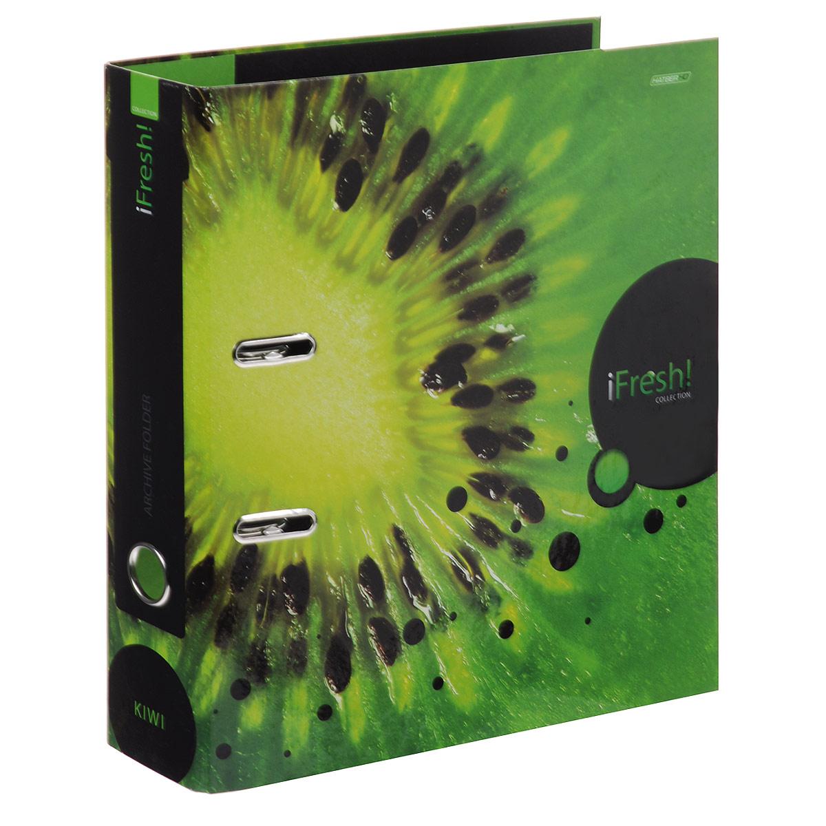 Папка-регистратор Hatber iFresh!: Киви, цвет: зеленый папка регистратор hatber red on black ширина корешка 70 мм цвет черный красный