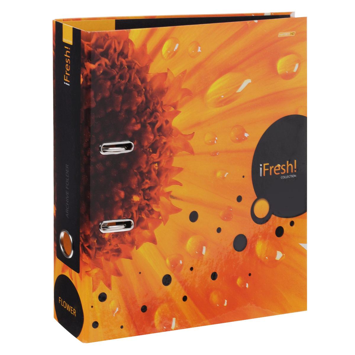 Папка-регистратор Hatber iFresh!: Цветок, цвет: оранжевый папка регистратор hatber red on black ширина корешка 70 мм цвет черный красный