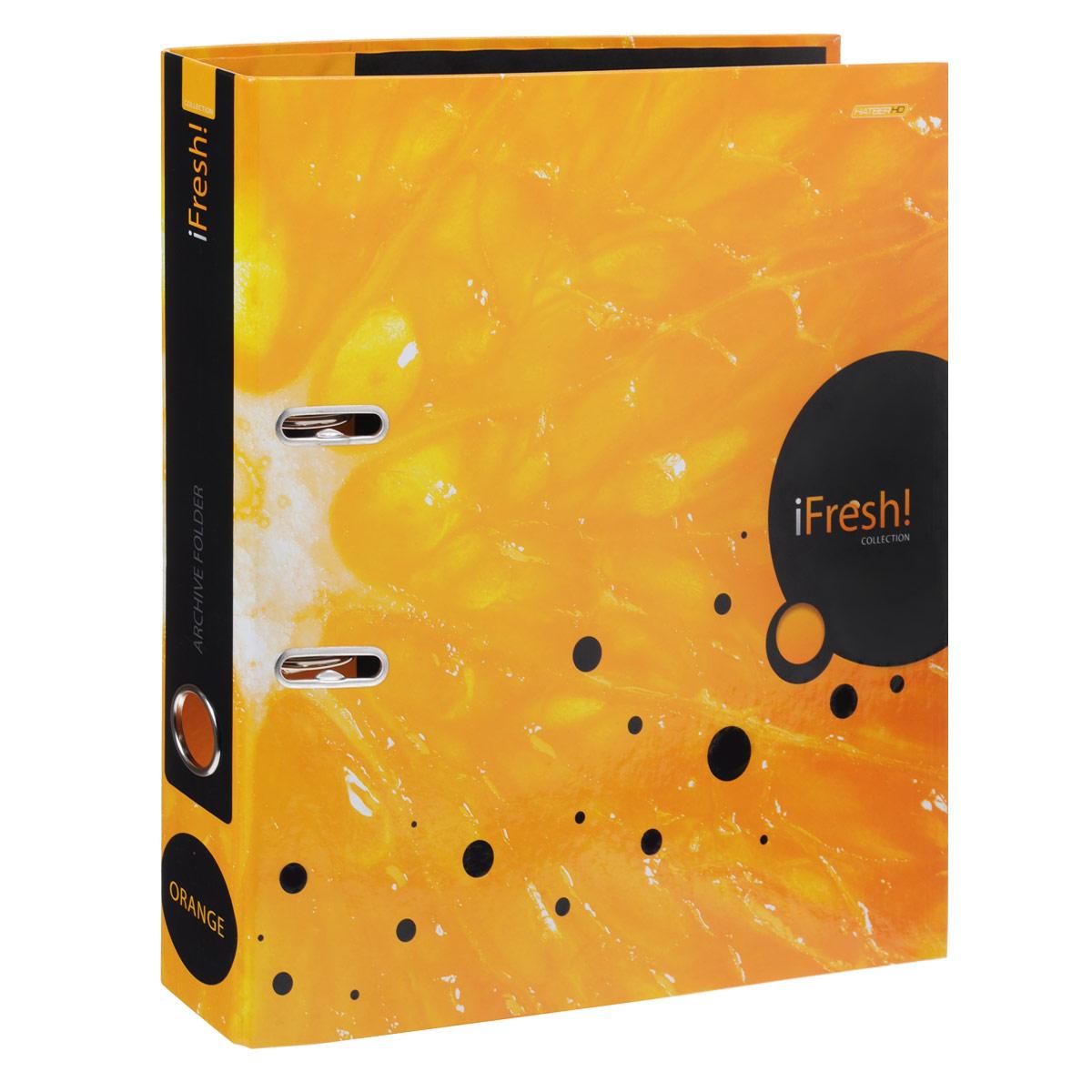 Папка-регистратор Hatber iFresh!: Апельсин, цвет: оранжевый папка регистратор hatber red on black ширина корешка 70 мм цвет черный красный