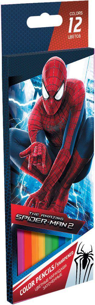 Набор цветных карандашей, 12 шт. Amazing Spider-man 2. Цветные карандаши длиной 17,8 см; заточенные; дерево - липа; цветной грифель 3 мм; карандаш в цвет грифеля с логотипом; логотип тиснение золотом; Коробка из мелованного картона, раздвижная, европо