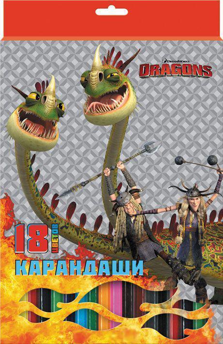 Набор карандашей цветных, ACTION!DRAGONS, с печатью на корпусе, 18 цв., е/п цена в Москве и Питере