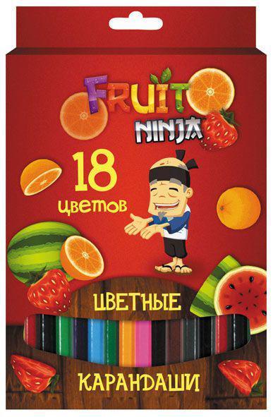 Фото - Набор карандашей цветных, ACTION!FRUIT NINJA, с печатью на корпусе, 18 цв., е/п канцелярия action подкладка на стол fruit ninja