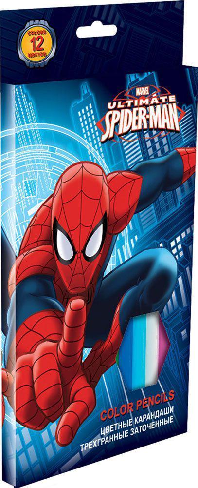 Набор цветных карандашей, 12 шт. (треугольные толстые). Цветные карандаши длиной 17,8 см; заточенные; розовое дерево; цветной грифель 4 мм; карандаш в цвет грифеля с логотипом; логотип - тиснение золотом; коробка: полноцветная печать. Spider-man Classi