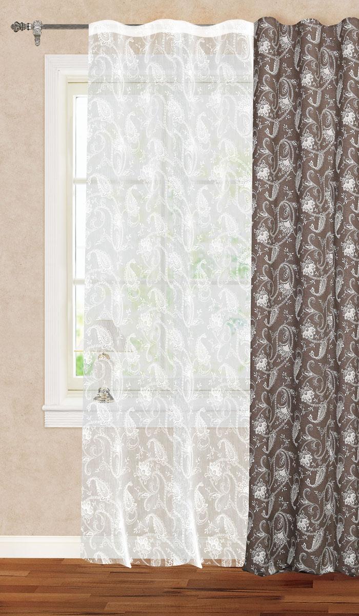 Штора готовая для гостиной Garden, на ленте, цвет: белый, высота 260 см. С 1181 - W1931 V1 штора готовая 150х180 garden