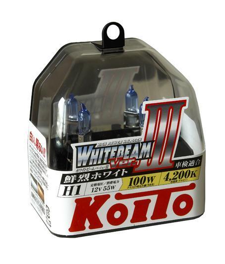 Комплект галогеновых ламп Koito Whitebeam H1, 12V, 55W, 4200 К, 2 шт