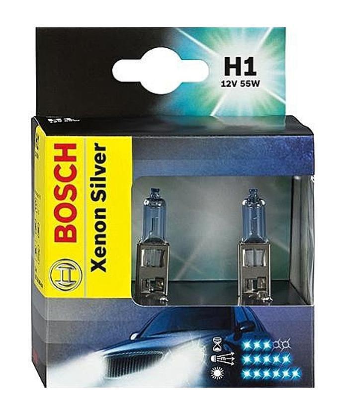 Лампа галогенная Bosch H1 Xenon Silver 12V, 55W, 2 шт