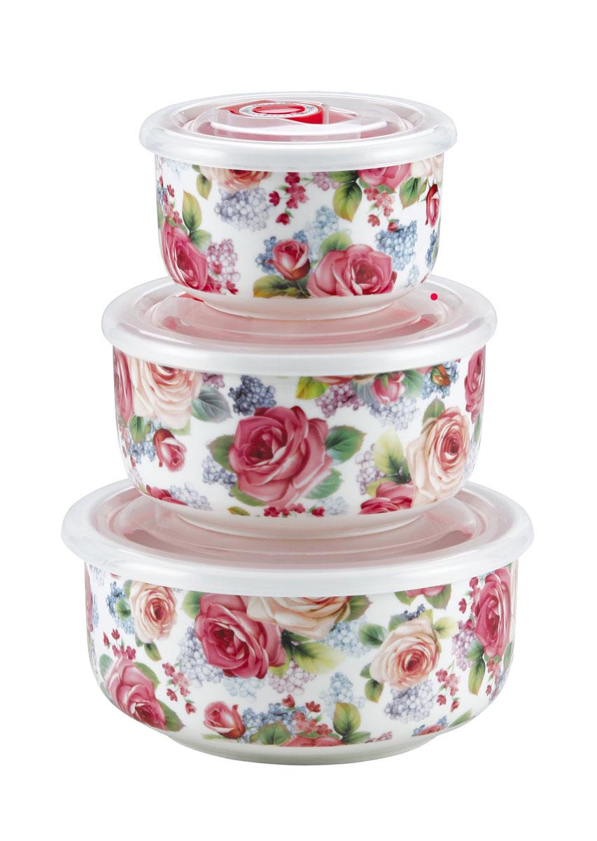 Набор вакуумных контейнеров Bekker Розы, с крышками, 3 шт набор контейнеров вакуумных bekker bk 5102
