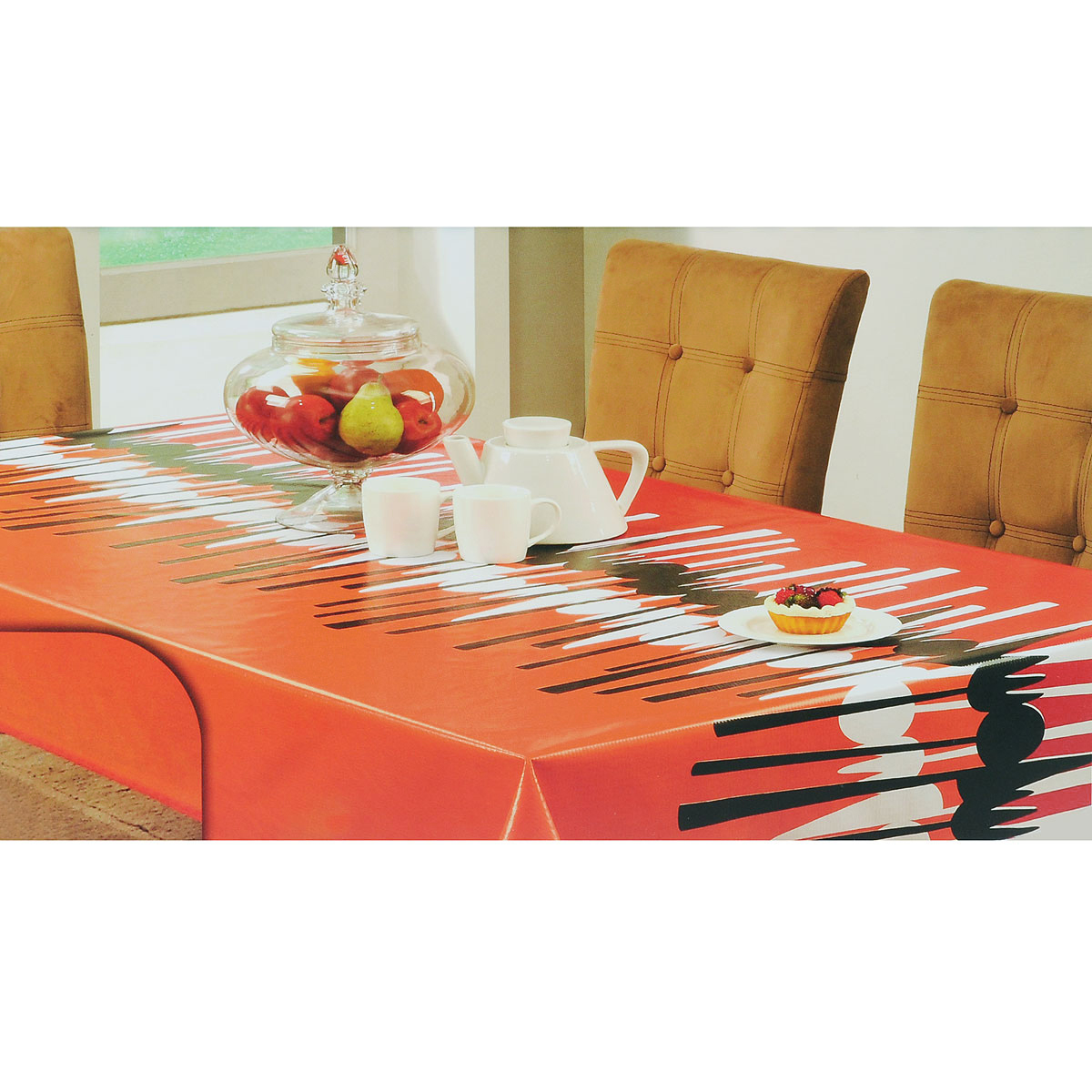 Скатерть White Fox Осень, прямоугольная, цвет: красный, оранжевый, 152 x 228 см цена