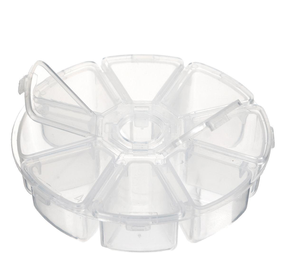 Контейнер для бисера Hobby & Pro, 8 секций, диаметр 10 см контейнер для мелочей hobby