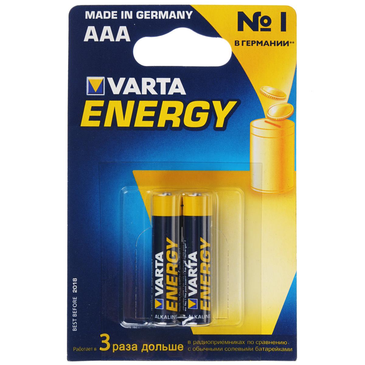Батарейка Varta Energy, тип AAA, 1,5В, 2 шт батарейки varta energy 2 шт aaa