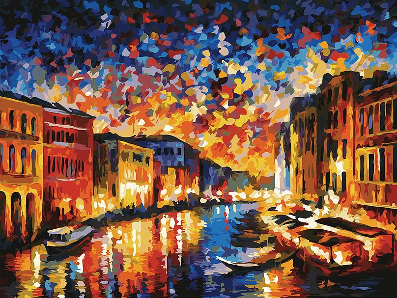"""Живопись на холсте """"Гранд-канал Венеция"""", 30 х 40 см. 024-AS"""