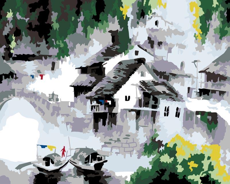 """Живопись на цветном холсте """"Белый город"""", 40 х 50 см. 055-CG-C"""