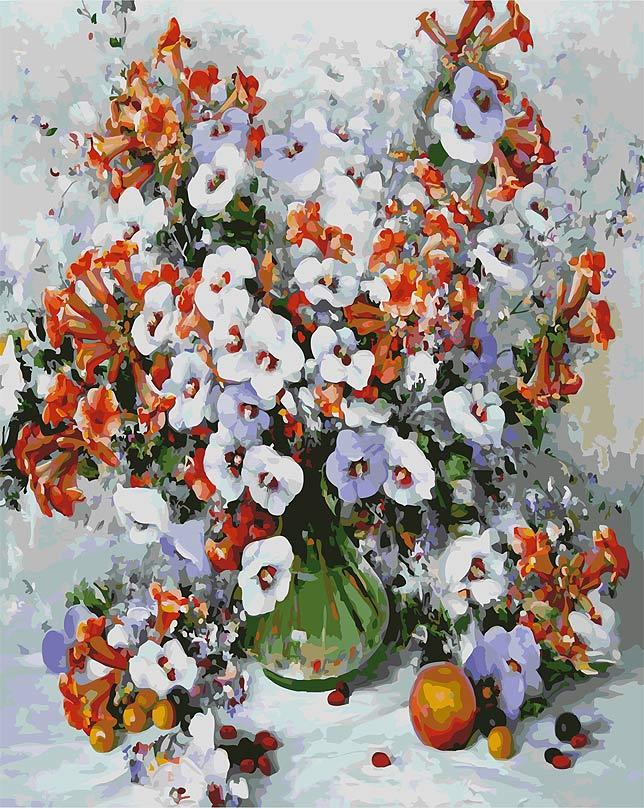 """Живопись на цветном холсте """"Городские цветы"""", 40 х 50 см. 018-AB-C"""