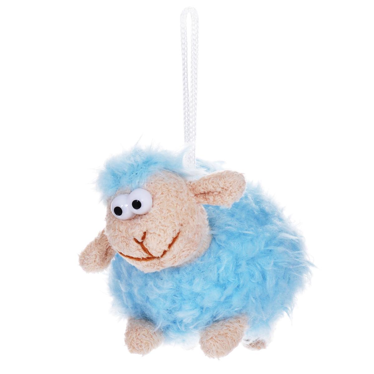 Мягкая игрушка-подвеска Sima-land Овечка, цвет: голубой, 8 см. 332801 мягкая игрушка sima land овечка на присосках 18 см 332770
