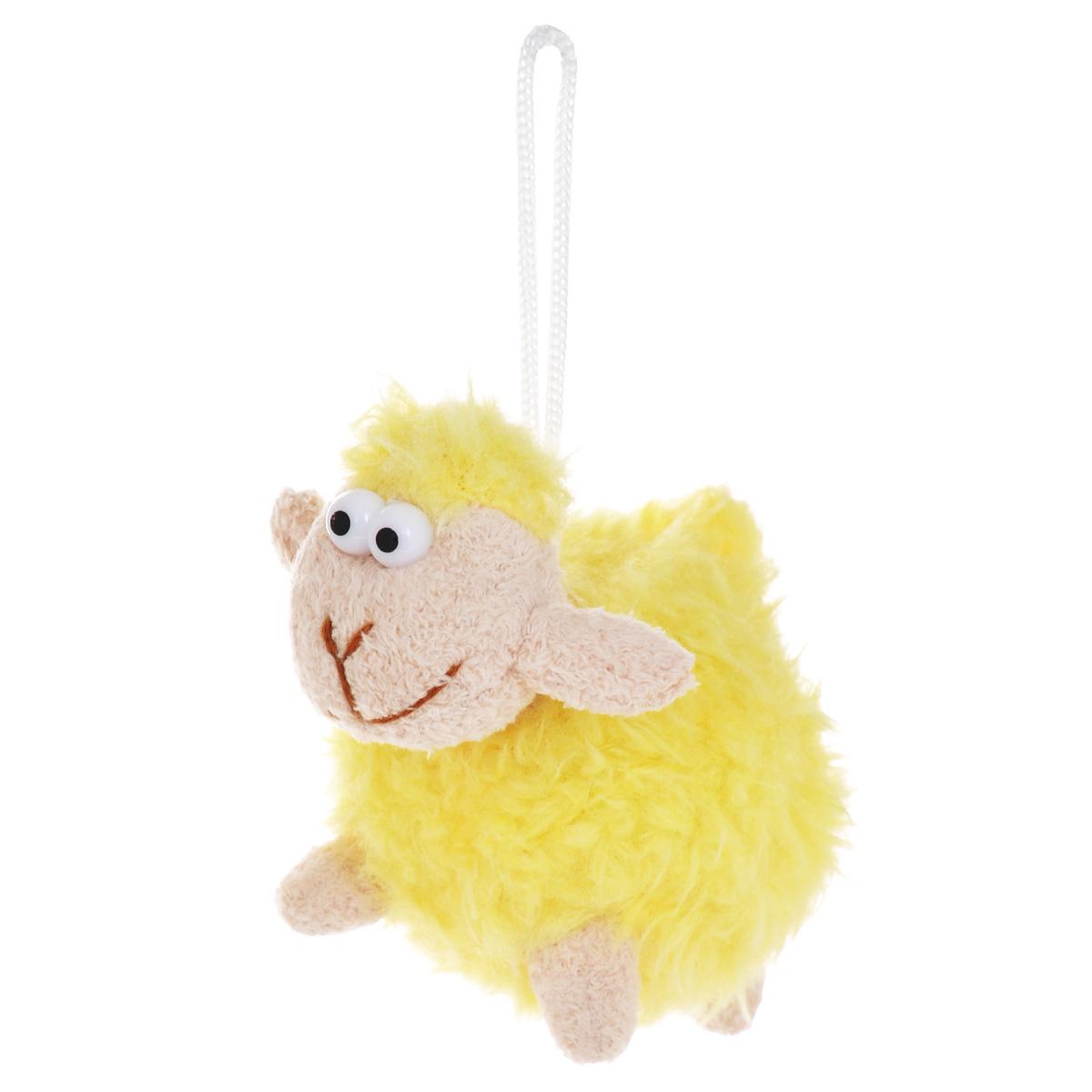 Мягкая игрушка-подвеска Sima-land Овечка, цвет: желтый, 8 см. 332801 мягкая игрушка sima land овечка на присосках 18 см 332770