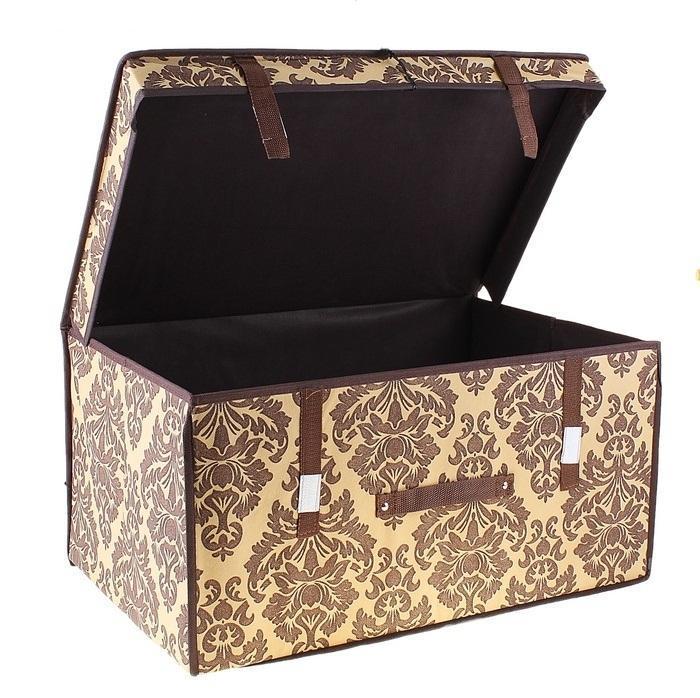 контейнер для хранения(жёсткий) 60*40*30см,коричневый 709750709750Декоративный контейнер - отличный способ для хранение вещей! Благодаря универсальности изделия, в контейнере можно хранить самые разнообразные вещи: бижутерию, лекарства, швейные принадлежности.Такой контейнер поможет держать вещи в порядке. Декоративный контейнер даст Вам возможность сохранить все в одном месте, а также защитить вещи от пыли, грязи и влаги. Материал: Флизелин,картон