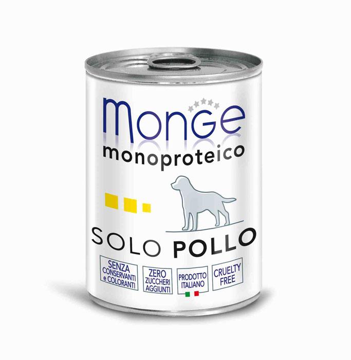 Консервы для собак Monge Monoproteico Solo, паштет из курицы, 400 г консервы для собак monge fresh с ягненком 100 г