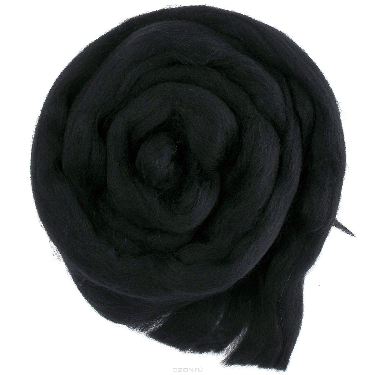 Шерсть для валяния Астра, тонкая, цвет: черный (0140), 100 г шарп лори игрушки и зверушки своими руками техника валяния шерсти