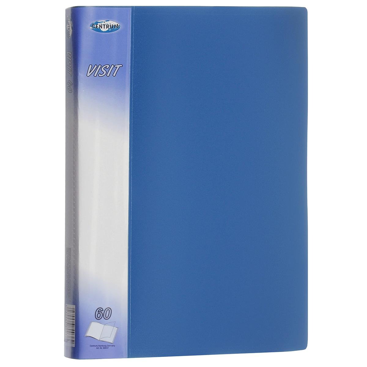 Папка Centrum Visit, 60 файлов, цвет: голубой. Формат А4 папки канцелярские centrum папка регистр а4 5 см фиолетовая
