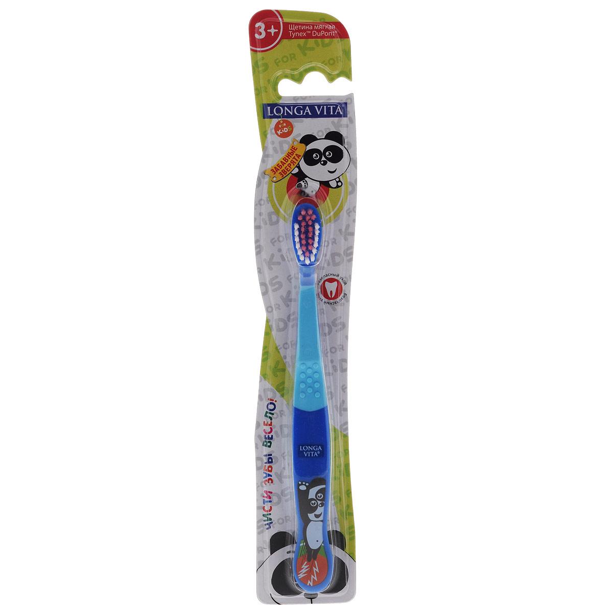 Детская зубная щетка Longa Vita Забавные зверята, цвет: синий, голубой детская зубная щетка longa vita забавные зверята в ассортименте