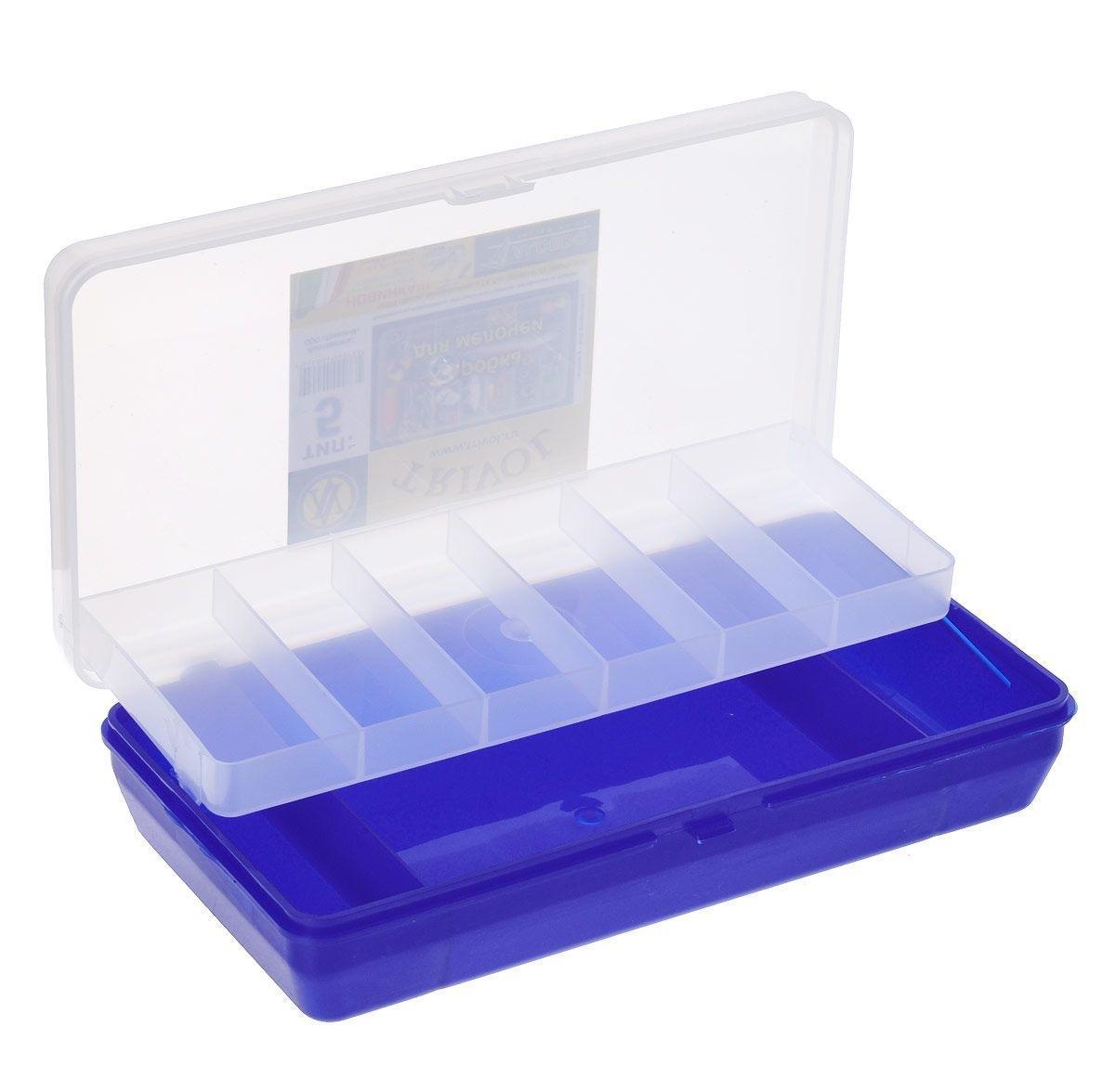 Коробка для мелочей Trivol, двухъярусная, с микролифтом, цвет: прозрачный, синий, 21 х 11 х 4,5 см525826Коробка для мелочей Trivol изготовлена из высококачественного пластика. Прозрачная крышка позволяет видеть содержимое коробки. Изделие имеет два яруса. Верхний ярус представляет собой съемное отделение, в котором содержится 6 прямоугольных ячеек. Нижний ярус имеет 3 ячейки разного размера. Коробка прекрасно подойдет для хранения швейных принадлежностей, рыболовных снастей, мелких деталей и других бытовых мелочей. Удобный замок-защелка обеспечивает надежное закрывание крышки. Коробка легко моется и чистится. Такая коробка поможет держать вещи в порядке. Размер малой ячейки: 3,5 х 8 х 1,5 см. Размер большой ячейки: 14 х 11 х 2,6 см.