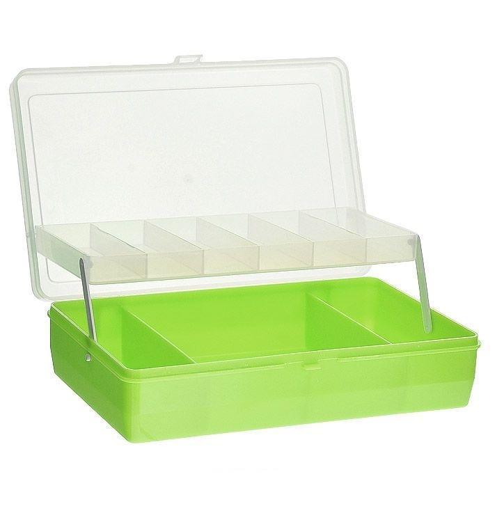 """Коробка для мелочей """"Trivol"""", двухъярусная, с микролифтом, цвет: светло-зеленый, 23,5 х 15 х 6 см"""