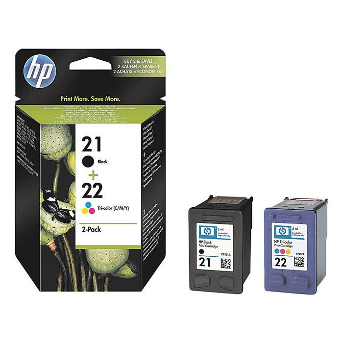 Картридж HP 21/22, черный, голубой, пурпурный, желтый, для струйного принтера, оригинал